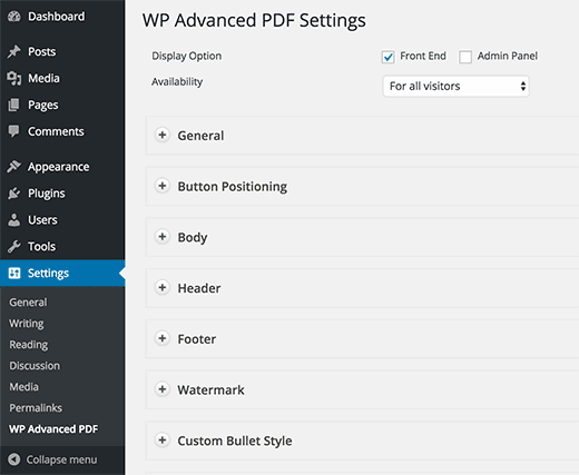 WP Advanced PDF plugin